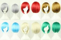 Wholesale 30cm Harajuku Anime Cosplay Wigs Young Short Straight Synthetic Hair Wig Bangs Blonde Costume Party Wigs For Women Colors ZA0125