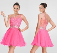 Wholesale Shiny Silver One Sleeve Dress - Custom Made Beadings Party Gown Short Mini Prom Dress Pink One Shoulder Neck Crystals Shiny Dress Cheap Homecoming Dress Sleeveless