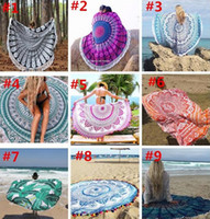 Wholesale 100pcs Types Large Polyester Reactive Printed Round Beach Towel With Tassel Serviette De Plage Toalla Playa Beach Swim Towel cm