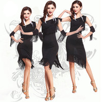 Wholesale 2016 New Arrival One Shoulder Sexy Adult Latin Salsa Jazz Ballroom Fringe Dance Costumes for Women Knee Length Stage Dancing Dress Black Red