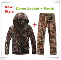 Wholesale Shark Skin Softshell Ghillie Camouflage Suit Outdoor Hunting Tactical Fleece Casual Camo Clothing