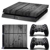 Precio de Consola gris-Grey Wood Grain PS4 Juegos Decalques de la piel Vinyl Wrap Stickers Protector para PlayStation 4 Consola 2 PCS Controller Skins para libre
