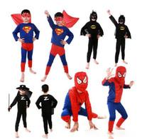 Wholesale Uperhero Cosplay Costumes Children Batman Spiderman Superman Costumes Superman costume Spiderman Superhero Costume Zorro costume