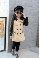 Wholesale 2016 Fall winter girl coats European new fashion leather trench patchwork kids winter coats top quality