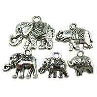 baby african elephant - 5PCS MIX Vintage Silver Alloy Hindu African Animal Totem Elephant Baby Pendant