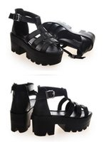 ankle strappy sandals - New Summer Lady Strappy Platform Block Heel Chunky Pure Buckle Leather Peep Toe Ankle High Sandals Women Gladiator Shoes