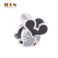 Wholesale Sterling Silver Jewelry Mouse Charm Pendant With Black Enamel Bracelet Bangle For Women Kids Children S Day Fine Jewelry D021