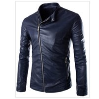 Wholesale Fall Casual Men Leather Jackets and Coats Zipper Down Designer Leather Coats Top Quality Male Leather Jackets New Arrival S1911