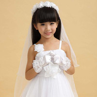 Wholesale kids gloves Costume Accessories Children Girls White Lace Gloves Gloves for performing dress Size