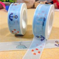 Wholesale New x Cartoon Seaside Japanese Washi Masking Tape Decorative Tapes m Pattern of Blue Sea Buoy Anchor Boat amp Dolphin