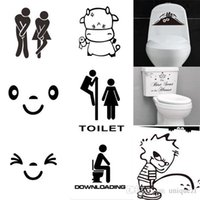 Wholesale New Toilet Seat Wall Sticker Vinyl Art Wallpaper Removable Bathroom Decals Decor