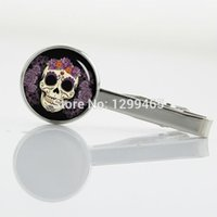 Wholesale Day of the Dead skull Tie Clips Unique Design Promotion Silver plated tie tacks Sugar skull Business Gifts Tie pin T