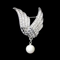 beautiful wings - Fashion personality Female Feather Brooch Beautiful Angle Wing Crystal Brooches Pins Factory Price Fashion Jewelry DHH157