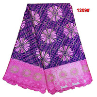 Wholesale African Style Fashion Colorful Print Wax Fabric And Flower Cord Lace For Dress Super Wax Lace Fabric Yards