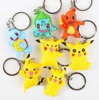 percez Pikachu Cartoon pokeball pvc Figurines d'action clés anneaux Poke Anime Keychain Porte-clés Pendentif Halloween Noël cadeaux mode en gros