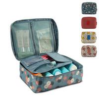 big red box storage - large capacity cosmetic organizer Korean makeup bag dot women handbags portable storage canvas bag big travel bag storage box