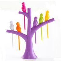 Wholesale Bird Fruit Dessert Snack Forks Tool Tree Shape Holder Creative Rack Home Decoration