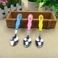 baby spoon stainless - maternal and child supplies yellow pink blue baby medical grade stainless steel spoon and with cartoon chart
