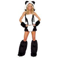 adult bear halloween costume - Soft Faux Fur Fun Sexy Panda Bear Corset And Skirt Animal Adult Fancy Dress Halloween Easter Girls Costume L1324