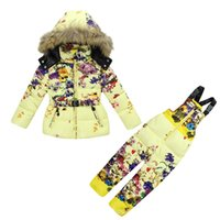 baby ski wear - 2016 New arrival kids skiing cloting suits baby girls down cotton outdoor ski wear colors size XS XL sets one package