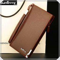 bifold leahter wallet - Long Wallet Gift for Men Ultra Thin Pu Leahter Business style Plain Color Zipper Purse Bifold Clutch Card Wallets
