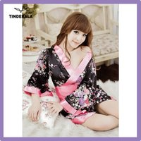 big black uniform - satin sexy kimono costume short sleeve black color big bowknot with G string for sexy ladies