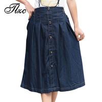 Wholesale TLZC Skirt Korean Charm Lady Casual Denim Skirts Plus Size M XL New Loose Long Design Women Fashion A line Jean Skirt