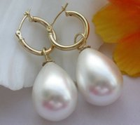 Wholesale Mouse over image to zoom MM AAA PERFECT ROUND WHITE SOUTH SEA SHELL PEARL DANGLE EARRING K