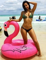 Wholesale 150CM Inch Giant Inflatable Flamingo Pool Toy Float Inflatable Pink Cute Ride On Pool Swim Ring for Water Holiday Fun Party