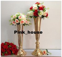 Wholesale Elegant Slim tall metal flower cm quot Gold Wedding flower vase Wedding decoration wedding centerpiece wedding pillar