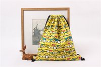 Wholesale 2016 Outdoor Sports Backpack Cotton Canvas Eco Reusable Shopping Shoulder Bag Tote Minions Drawstring Bucket Bag