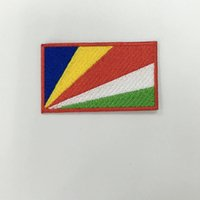 american flag borders - Seychelles national patch american flag X4 quot hot cut border iron on backing emb embroidery logo designs