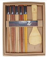 Wholesale 6 Sets Pairs Japanese Natural Beech Wood Chopsticks Set Handmade Spoon Gift Pack Kitchen Accessories