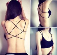Wholesale Fashion New Sexy Women Cotton Hollow Back Midriff Shirt Tank Top Padded Bra Wrap Vest Chest Sport Bra Crop Tops
