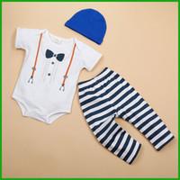 al por mayor tutú recién nacido azul-Party los juegos formales de los bebés los cabritos recién nacidos del mono del estilo del caballero del cortocircuito de los mamelucos de los trajes largos de los mamelucos sombrero azul negro 3pcs alta calidad