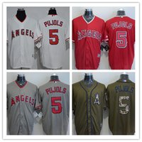 albert gray - 2016 Newest High Quality Albert Pujols Jersey Cheap Los Angeles Angels Pujols Baseball Jerseys Stitched Gray Red White Army Green