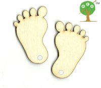 baby plaque - 100pcs gift tag unfinished wood BABY FOOT shape laser cut PLAQUE CARD MAKING BLANKET mm string accessory WITH HOLE EA105