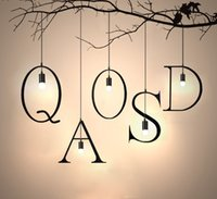 Wholesale Hot sell pendant lamp letters wrought iron chandelier creative personality loft balcony clothing store study restaurant bar coffee house