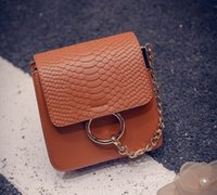 alligator ring - 2016 Brand Designer Handbags Women Circle Ring Chain Satchel Leather Messenger Bag Ladies Crocodile Alligator Pattern Cross body Bags