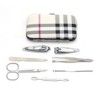Wholesale 7pcs Set Nail Clipper Kit Nail Care Pedicure Scissor Tweezer Knife Ear pick Utility Manicure Set Tools Stone Pattern grid Case