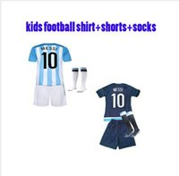 argentina winter - Top Quality Season Youth Argentina Home Kids Soccer Uniform Jerseys Boys Football Jerseys Embroidery Logos custom name number