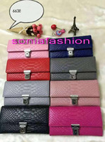 Wholesale 2016 hot sale women wallet clutch new style luxury designer snake skin insert buckle long real leather women wallet