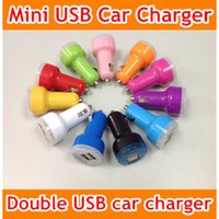 Wholesale Colorful Mini Car Charger USB Port A Chargers Micro Dual USB Adapter Flash Nipple Dual USB Port for Phone Pad