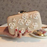 al por mayor subió de embrague de oro-2016 Bolsos de tarde más nuevos de la manera Bolso popular imponente del oro de Rose con las flores exquisitas 3D Perlas y los bolsos de hombro de los bolsos de Beades