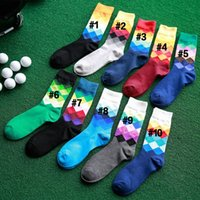 Wholesale Hot Tide Brand Men And Women Gradient Color Socks Summer Autumn Style Colorful Plaid Checks Lattices High Business Sock