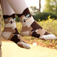 ankle length socks - 1 Pair Female D Animals Cat Footprints Striped Cartoon Socks Women Winter Autumn Warm Cotton Floor Length Sock for Lady Girls