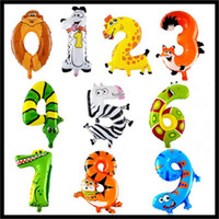 Wholesale 1pcs inch Cute Animal Number Balloons Foil Balloon Birthday New Year party Wedding Decoration Balloons