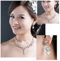 Wholesale Fashion Wedding Accessories Statement Necklace Women Imitation Diamond Jewelry Sets18k Gold Pleated Jewellery Set Drop Earrings