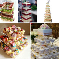 Wholesale 3 Tier Square Transparent Acrylic Cupcake Tower Stand Bracket for Wedding Birthday Baby Shower Cake Holder Decoration