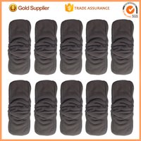 Wholesale 5 Layers Bamboo Charcoal Cotton diapers Inserts Nappy changing mat Baby Diapers Reusable diaper changing pad solid color